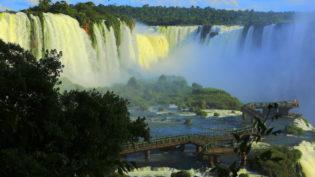 Tourists on Iguazu falls bridge - Brazil, South America